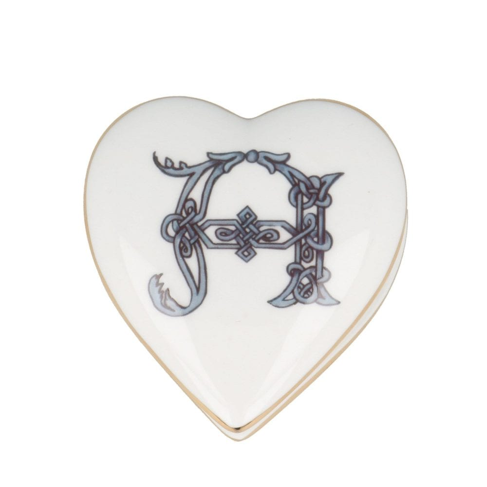 Heart shaped trinket box with initial