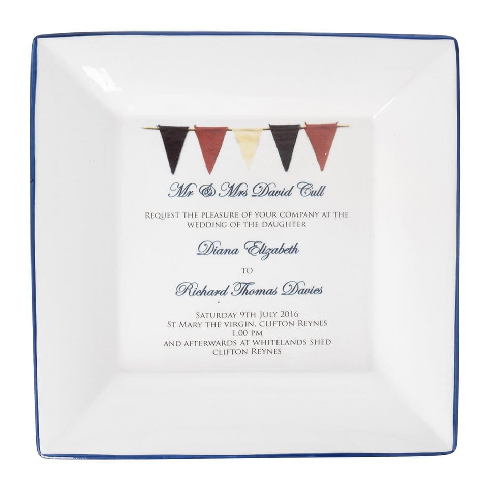 large square dish with wedding invitation and extra personalisation on base