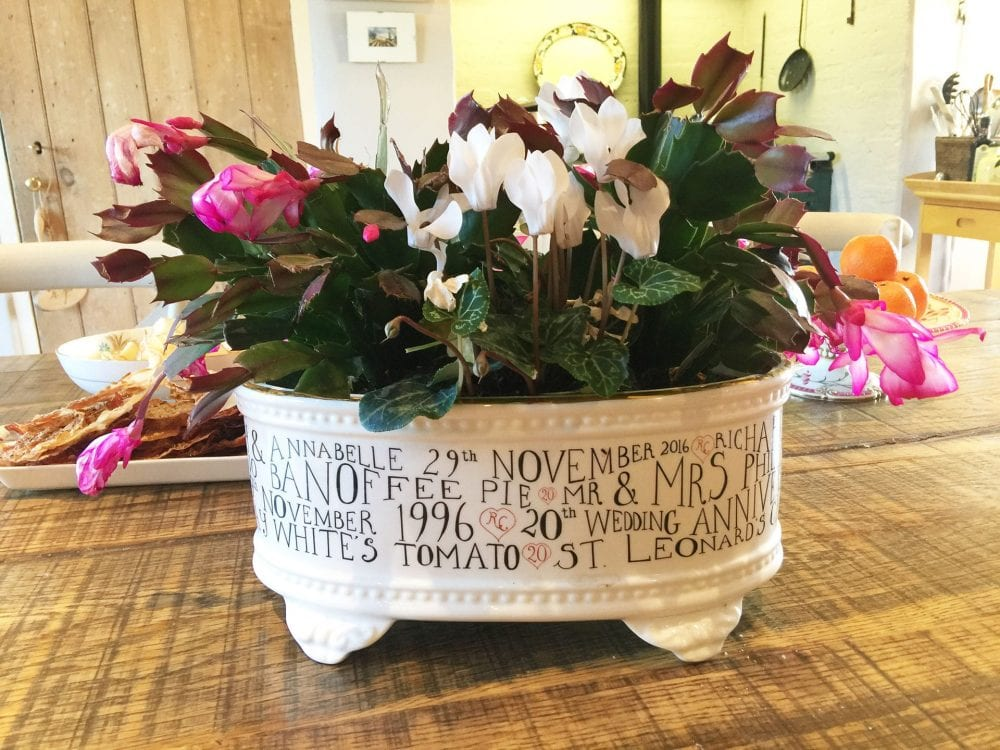 personalised bone china planters contemporary style