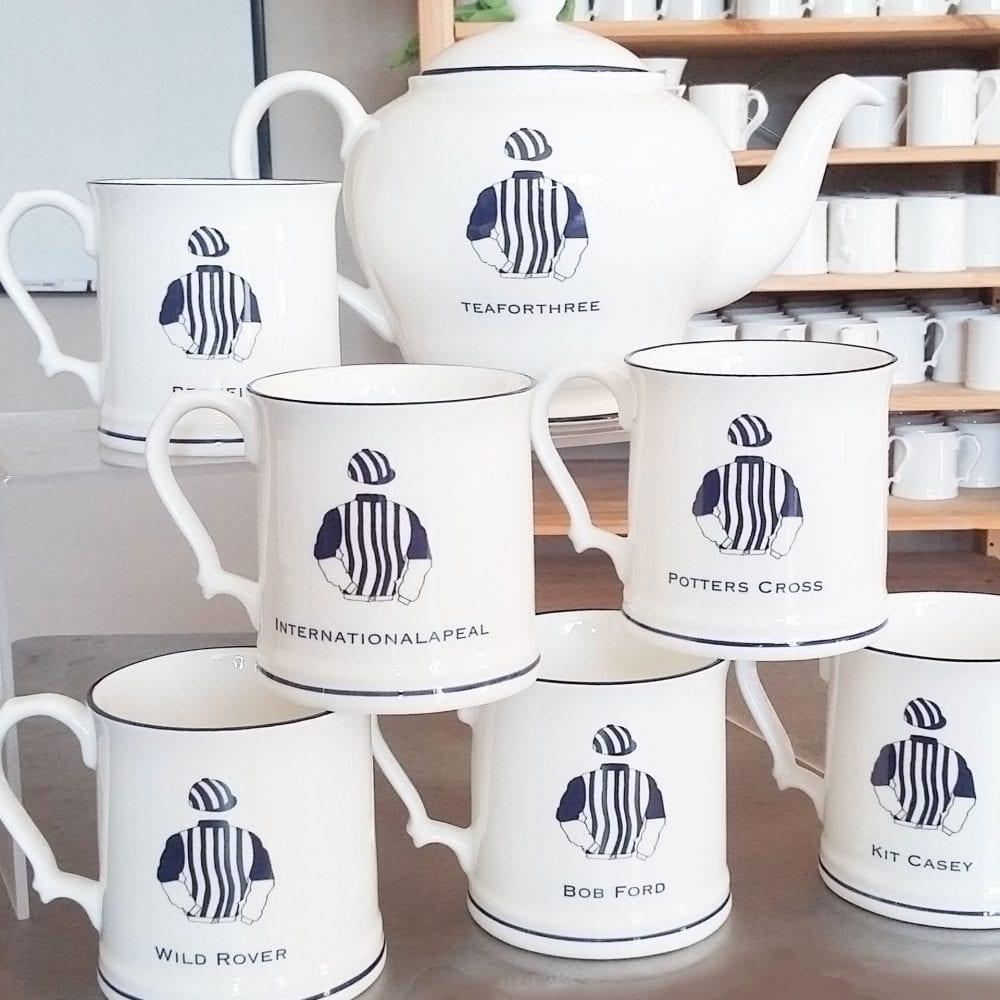 Horse Racing set of mugs and a teapot