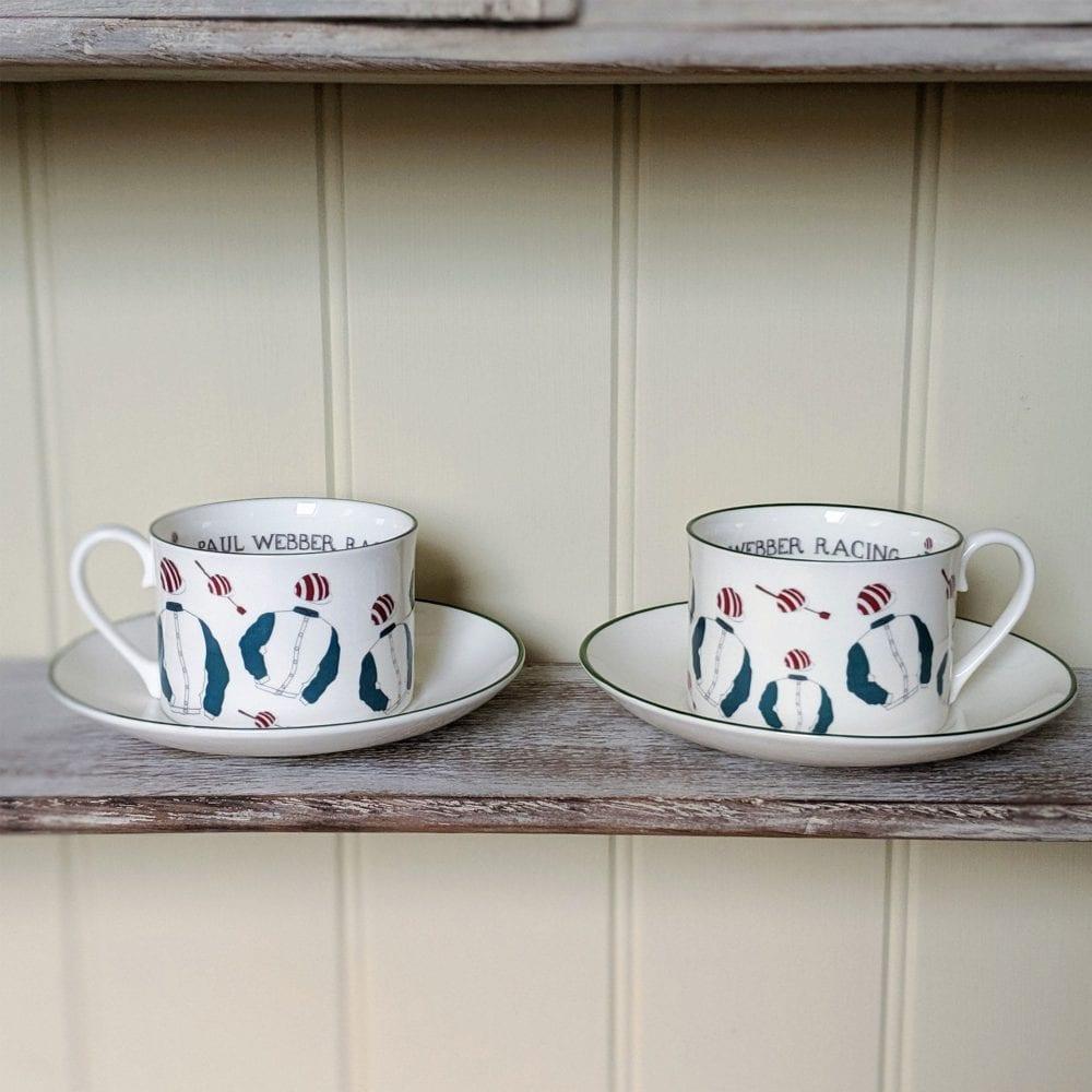 Racing silks teacups set shown an a shelf