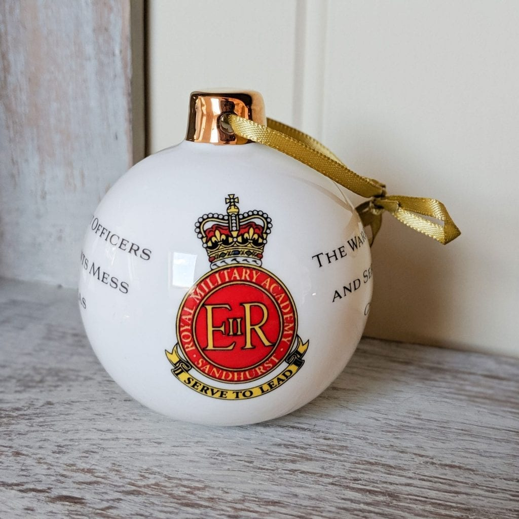Christmas china military bauble with sandhurst insignia