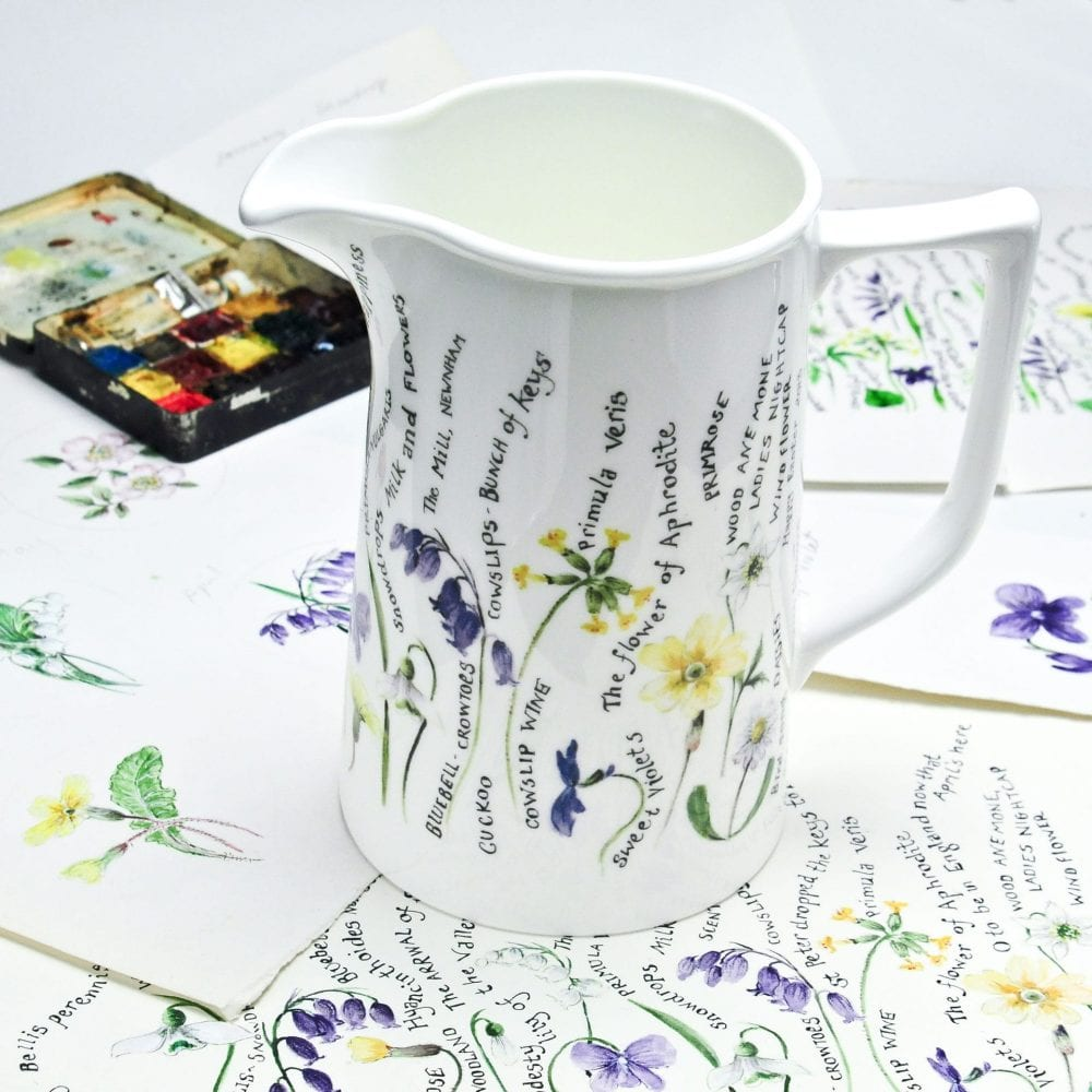 2 pint jug with painted flowers design lifestyle shot