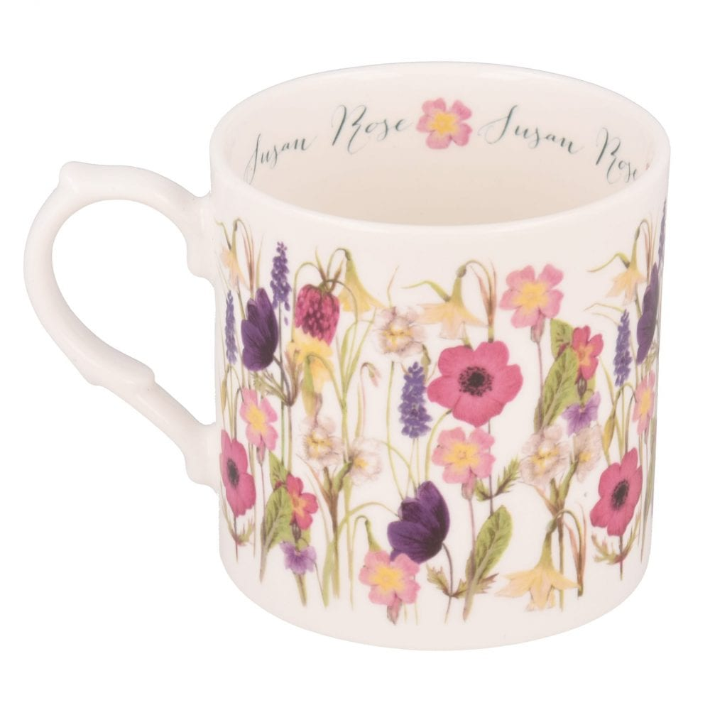 Spring flowers mug with personalisation on inside rim