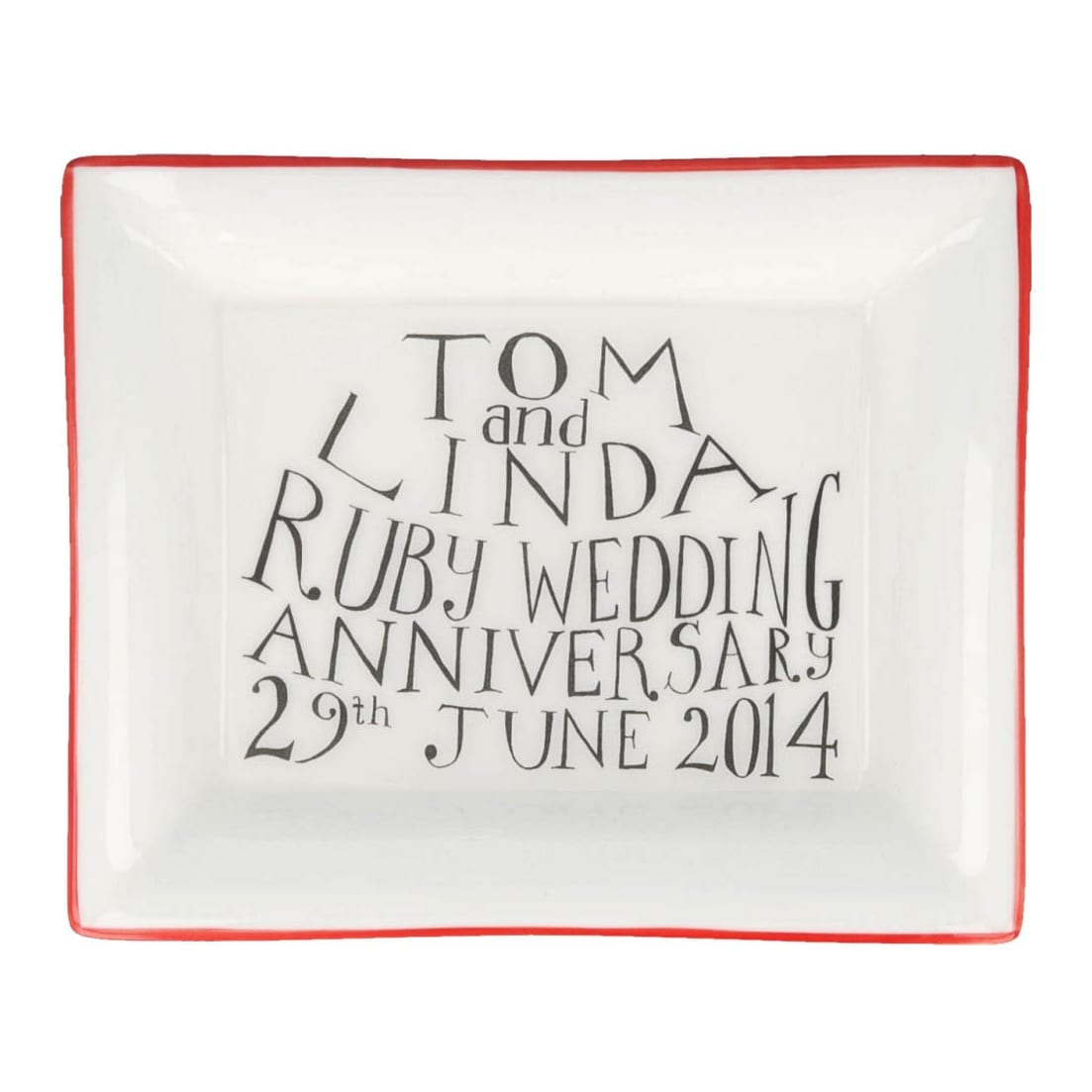 Contemporary wedding anniversary gift rectangular dish with ruby rim for Ruby Wedding gift