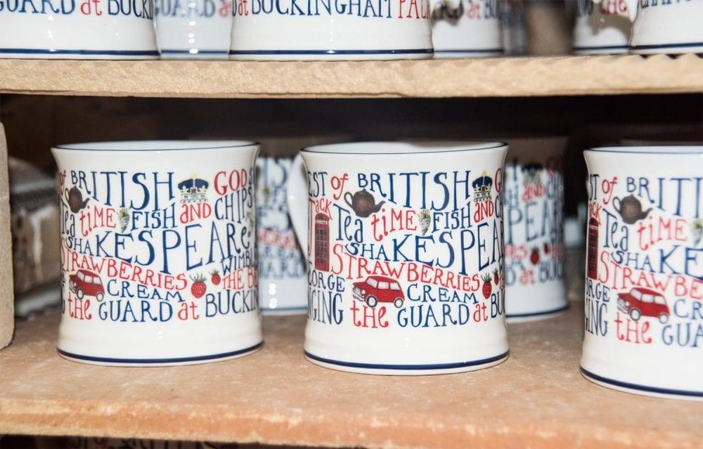 Best of British mugs on a shelf