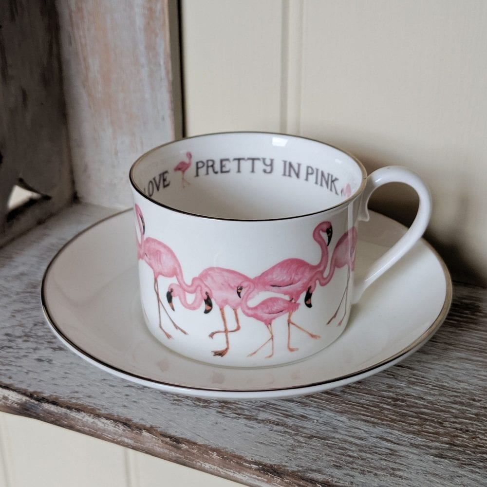 Flamingo design personalised cups and saucers
